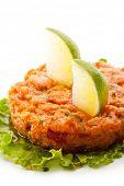 Salmon Tartare on Salad Leaf with Lime Slice