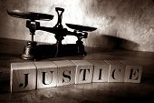 The Word Justice Spelled With Letter Blocks