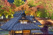 Kawaguchi-ko, Japan fall light up and village replica.
