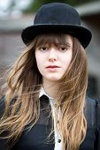 Beautiful Woman Wearing Bowler Hat