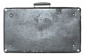 Old Shabby Silvery Suitcase On A White Background