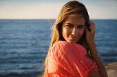 Portrait Young Woman Smile Happy Sea Beauty