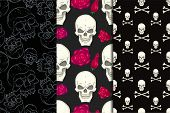 seamless background with skulls