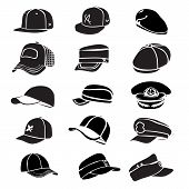 picture of rap  - cap set isolated on hat icon vector baseball rap - JPG