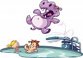 Hippo jumping in pool