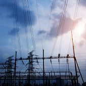 image of substation  - Electrical substation on the sunset background - JPG