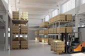 Full storage warehouse with many boxes and a forklift