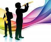 Live Band on Colorful Abstract Background
