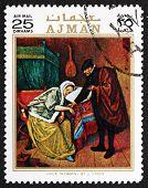 Postage Stamp Ajman 1971 Sick Woman, By Jan Steen