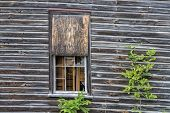 Wooded Window On Collapsing Building