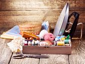 Old  Scissors, Various Threads, Iron And Sewing Tools
