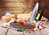Various Threads, Iron And Sewing Tools