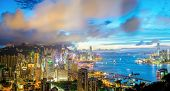 Aerial Panorama shot of Hong Kong cityscape Skyline from braemar hill at dusk