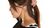 Close Up Woman Earrings