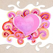 Artistic valentine card on the watercolor background with varicolored curls and place in the shape of heart. Decoration design element. Square banner. Hand drawn design element