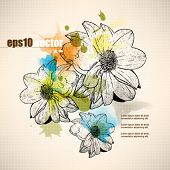 eps10 vector multicolor grunge drawing flower concept background