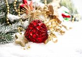 Christmas Decoration With Red Baubles Und Stars On White