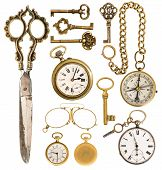 Golden Vintage Accessories. Antique Keys, Clock, Scissors, Compass