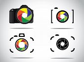 Concept Illustration Of Trendy Minimalistic 3D Digital Slr And Simple Camera Icons Set With Shutter