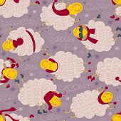 Seamless Pattern With Sheeps In Winter Clothes