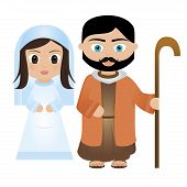 pic of mary  - virgin Mary and Joseph cartoon on a white background - JPG