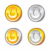 Coins with horseshoe