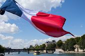 French Tricolour Flag And Paris Seine