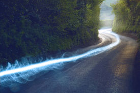 pic of british culture  - Fiber optic cable running above ground in the British Countryside - JPG