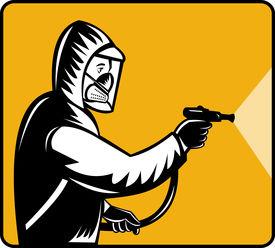 stock photo of pest control  - illustration of a Pest control exterminator spraying pesticide - JPG