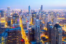 pic of willy  - Aerial view of Chicago City downtown at dusk USA - JPG