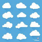 Clouds. Vector design elements set.