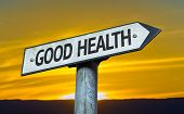 Good Health sign with a sunset background