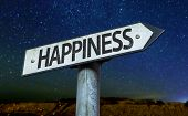 Happiness sign with a beautiful night background