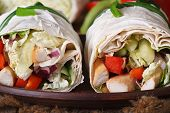 Pita Bread Roll With Chicken And Vegetables Macro, Horizontal