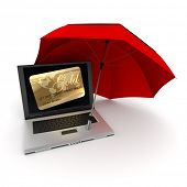 3D rendering of a laptop with a credit card on the screen, protected by an umbrella