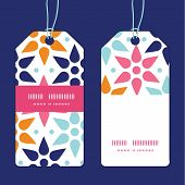Vector abstract colorful stars vertical stripe frame pattern tags set