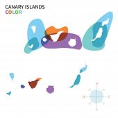 Abstract vector color map of Canary Islands with transparent paint effect.