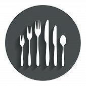 Dessert fork, knife, teaspoon. Cutlery set.