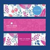 Vector pink flowers horizontal banners set pattern background