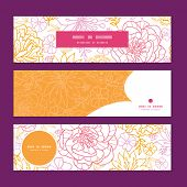 Vector flowers outlined horizontal banners set pattern background