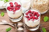 Yogurt with muesli and raspberries