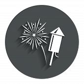 pic of explosion  - Fireworks with rocket sign icon - JPG