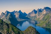 pic of reining  - Beautiful view of Norwegian fjord from mountain peaks above Reine on Lofoten islands - JPG