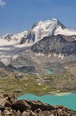 image of shan  - Scenic turquoise lake below highest peaks of Tien - JPG