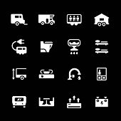 stock photo of campervan  - Set icons of camper caravan trailer isolated on black - JPG