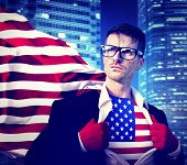 Superhero Businessman American Flag Patriotism National Flag Concept