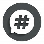 stock photo of hashtag  - Hashtag speech bubble sign icon - JPG