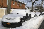 Cars under snow in Brooklyn, NY after massive Winter Storm Juno strikes Northeast.