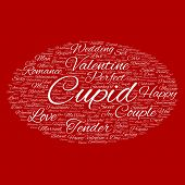 Concept or conceptual white love or Valentine`s Day wordcloud text in shape of ellipse symbol isolated on red background