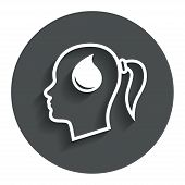 Head with drop sign icon. Female woman head